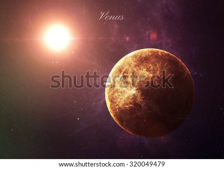 The Venus shot from space showing all they beauty. Extremely detailed image, including elements furnished by NASA. Other orientations and planets available.