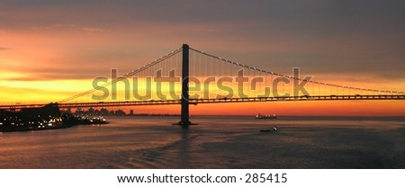 The Verrazano Bridge in New York at sunrise...