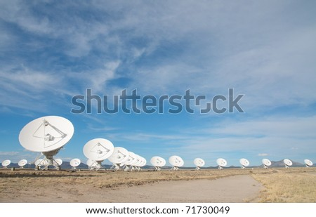 the Very Large Array and yellow bushes on the Plains of San Augustin in New Mexico