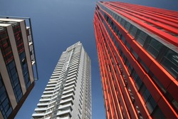 The very modern and innovative tower for apartments, offices and shops, named The Red Apple.
