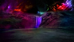 The vibrance of cosmos reflected by the surface and the waterfall.