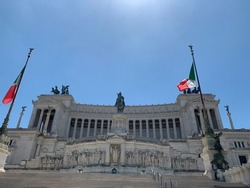 The Victor Emmanuel II National Monument (Altar of the Fatherland). It is famous sightseeing and tourism place. Close up view of Altare della Patria. Rome, Lazio, Italy.