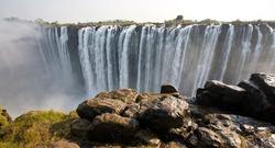 The Victoria Falls at the border of Zimbabwe and Zambia