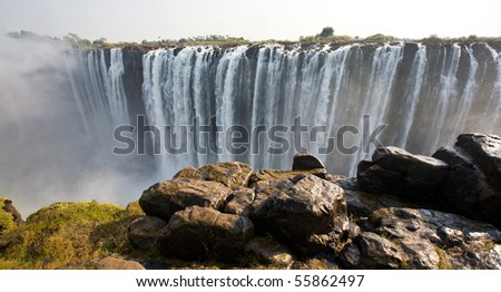 The Victoria Falls at the border of Zimbabwe and Zambia