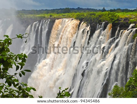 The Victoria falls (South Africa)is 1708 meters wide, making it the largest curtain of water in the world.The falls and the surrounding area have been declared National Parks and World Heritage Site.