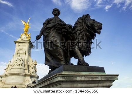 The Victoria Memorial is a monument to Queen Victoria, located at the end of The Mall in London, and designed and executed by the sculptor (Sir) Thomas Brock. #1344656558