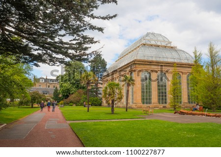 The Victorian Tropical Palm House, the oldest glasshouse at the Royal Botanic Gardens, a public park in Edinburgh, Scotland, UK. #1100227877