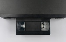 the videotape is inserted into the video recorder top view