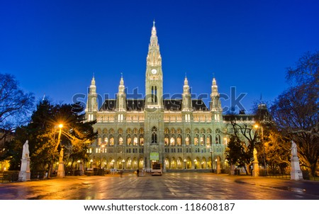 The Vienna City Hall (Rathaus) in twilight