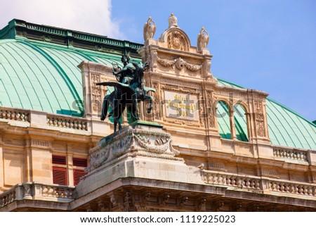 The Vienna State Opera, foreshortening from below, Vienna. Austria