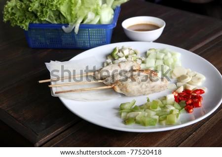 The Vietnam Food shrimp around sugarcane