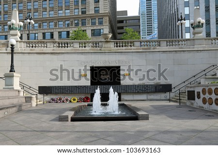 The Vietnam Memorial in downtown Chicago, along the Chicago River
