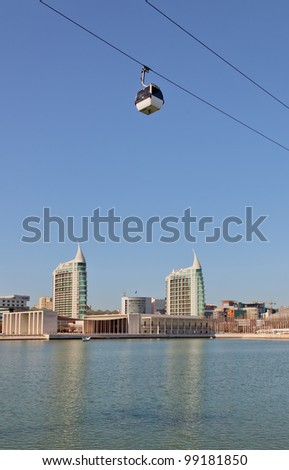The view across the bay to Parque das Nacoes - Lisboa, Portugal - stock photo