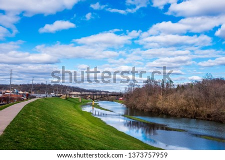 The view across the Galena River in Illinois from the top of the levee. ストックフォト ©