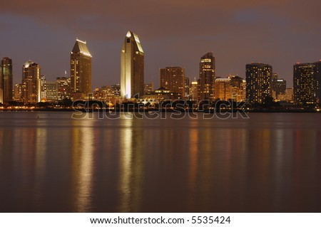 The view at downtown San Diego at dusk from Coronado island marina.