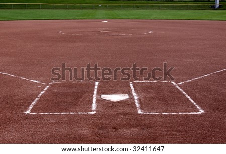 The view from behind the plate on a vacant softball field.