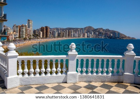 The view from Placa del Castell overlooking Levante Beach in Benidorm, Spain.