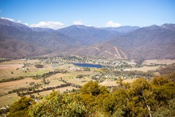The view from Sullivans Lookout over the Kiewa Valley and the town of Mt Beauty in Victoria, Australia.