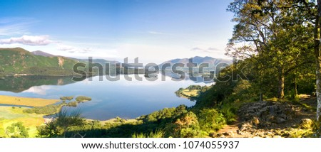 The view from Surprise View near Keswick in the morning with reflections in Derwent Water, Lake District, Cumbria England