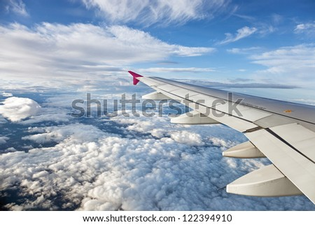 The view from the airplane at the clouds in the sky.