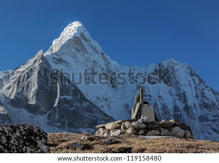 The view from the Chhukhung Ri on the Ama Dablam (6814 m) - Everest region, Nepal