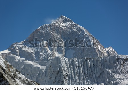 The view from the Chhukhung Ri on the fifth in the world in the height of mount Makalu (8481 m) - Nepal, Himalayas