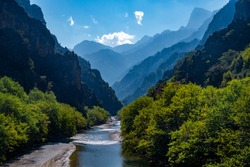 The view from the famous stone bridge of Aoos river located in Konitsa, Epirus, Greece.