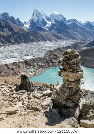The view from the Gokyo Ri in the glacier, village, and the third lake (Dudh Pokhari) - Nepal