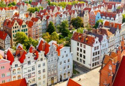 The view from the observation deck of St Mary's Cathedral in the historic center of Gdansk. Old city.