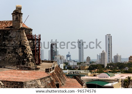 The view from the old Spanish for of Castillo de San Felipe de Barajas towards parts of modern Cartagena, Colombia, a city it has protected for centuries.