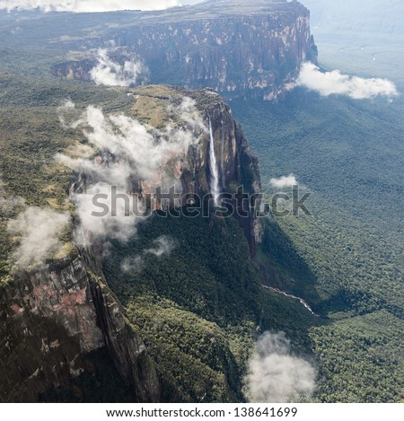 The view from the plane of the source of the river supply Angel Falls (Salto Angel) is worlds highest waterfalls (978 m) - Venezuela, South America