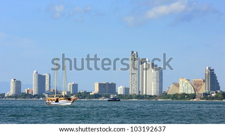 The view from the sea of the buildings and skyscrapers in Pattaya Beach.