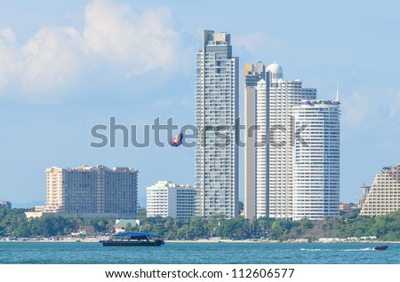 The view from the sea of the buildings and skyscrapers in Pattaya Beach.Thailand