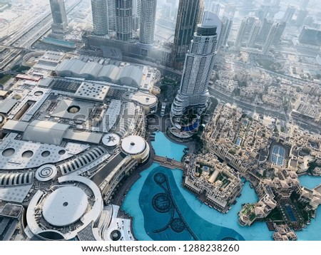 Dubai city night view from top of Burj Khalifa Images and