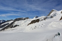 The view from Top of Europe platform at 3454 meters above sea level, a majestic backdrop of ice, snow and rock with breath taking far-sightedness, Joungfraujoch, Switzerland
