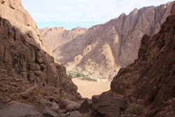 The view is not the most beautiful of the highest mountains in Catherine, sand rocks, mountains and majestic arid mountains in a delightful and beautiful landscape in St. Catherine, Egypt