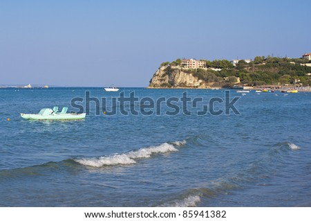 the view looking east from tsilivi beach on the greek island of zakynthos or zante
