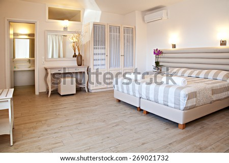 The view of a master bedroom