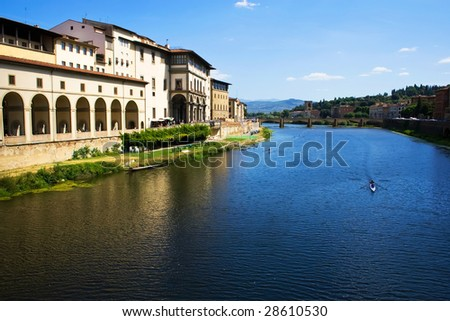 The view of Arno from ponte vecchio in Florence, Italy