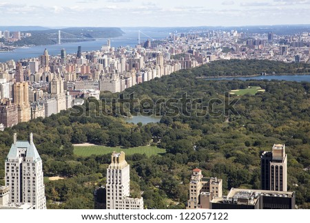 The view of Central Park in the middle of Manhattan (New York City). - stock photo