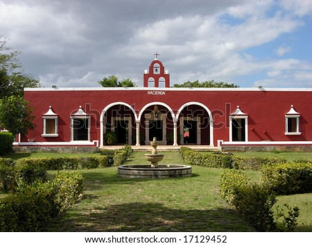 The view of characteristic XIX century hacienda in Mexico.