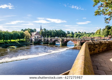 The view of Dee river and Old Dee Bridge taken from the old town Сток-фото ©