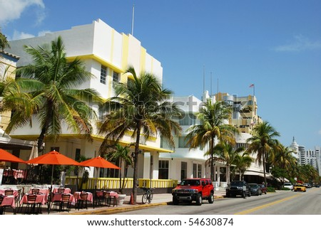 The view of famous Ocean Drive street in Miami South Beach (Florida).