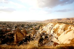 the view of Göreme city, surroundings contain rock-hewn sanctuaries that provide unique evidence of Byzantine art in the post-Iconoclastic period.
