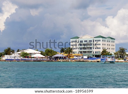 The view of George Town on Grand Cayman island.