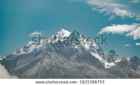 The view of Himalayas form South Sikkim, India with a a dramatic sky and wonderful day. lesser mountain, Himalayas, landscape, clouds.