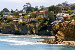 The view of homes,water and coastal La Jolla, near San Diego,California,United States.