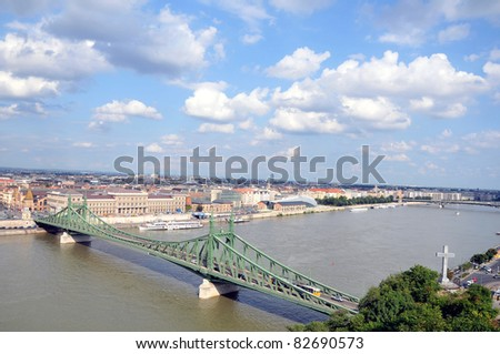 The View of Liberty Bridge in Budapest over the Danube River from Gellert Hill, Hungary