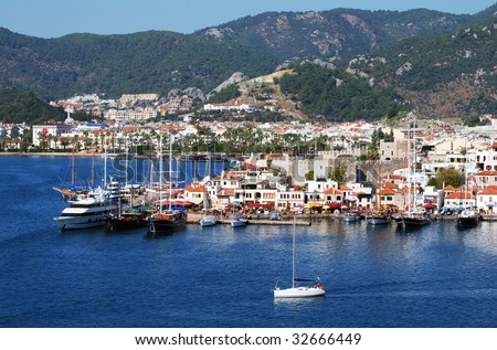 The view of Marmaris, popular resort town in Turkey.