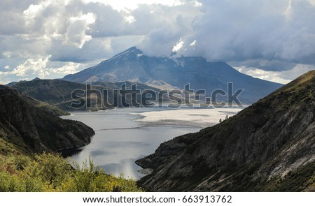The view of Mount St. Helens and Spirit Lake as seen from the Norway Pass Trail in the Mount Margaret backcountry of Cougar, Washington.